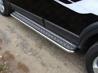 Пороги с площадкой (нерж. лист) 60,3 мм для Chevrolet Tahoe (2012 -) ТСС CHEVTAH12-06