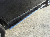 Пороги овальные с накладкой 120х60 мм для Ford Edge (2014 -) ТСС FOREDG14-04
