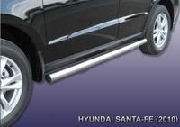 Пороги d76 труба  для Hyundai Santa Fe (2010 -) Слиткофф HSFN007