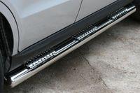 "Пороги ""труба"" d76 с тремя декоративными элементами на Hyundai Santa Fe (2010 -) СОЮЗ-96 HYSF.84.1152"