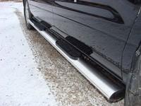 Пороги овальные с накладкой 120?60 мм для Hyundai H-1 (2013 -) ТСС HYUNH110-03