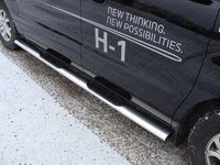 Пороги овальные с накладкой 120?60 мм для Hyundai H-1 (2010 -) ТСС HYUNH110-03