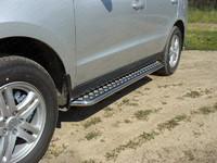 Пороги с площадкой 42,4 мм для Hyundai Santa Fe (2011 -) ТСС HYUNSF11-03