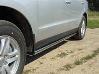 Пороги труба 60,3 мм для Hyundai Santa Fe (2011 -) ТСС HYUNSF11-04