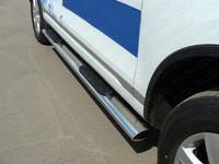 Пороги овальные с накладкой 120?60 мм для Hyundai Santa Fe (2011 -) ТСС HYUNSF11-09
