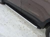 Пороги алюминиевые с пластиковой накладкой для Hyundai Santa Fe (2012 -) ТСС HYUNSF12-13