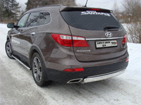 Защита заднего бампера (овальная) 75х42 мм для Hyundai Santa Fe Grand (2014 -) ТСС HYUNSFGR14-13