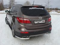 Защита задняя (уголки) 60,3 мм для Hyundai Santa Fe Grand (2014 -) ТСС HYUNSFGR14-14