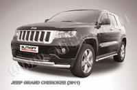 Защита переднего бампера d57+d57 двойная радиусная для Jeep Grand Cherokee (2011 -) Слиткофф JGCH003