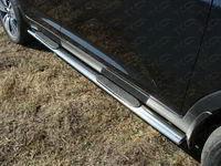 Пороги овальные с накладкой 75х42 мм для Kia Sportage (2014 -) ТСС KIASPORT14-06