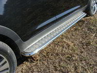 Пороги с площадкой 42,4 мм для Kia Sportage (2014 -) ТСС KIASPORT14-08