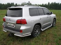 """Защита задняя """"уголки"""" 76,1/42,4мм на Lexus LX 570 (2007 -) ТСС LEXLX570-03"""