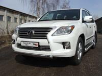Защита передняя нижняя овальная (короткая) 75х42 мм на Lexus LX 570 (2012 -) ТСС LEXLX57012-06