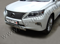 Защита передняя (овальная) 75х42 мм на Lexus RX350 (2012 -) ТСС LEXRX35012-05