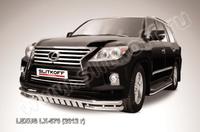 Защита переднего бампера d57+d57 двойная с ЗК для Lexus LX570 (2012 -) Слиткофф LLX570-12-003