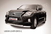 Защита переднего бампера d76+d57 двойная для Lexus LX570 (2012 -) Слиткофф LLX570-12-006
