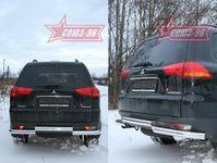 Защита задняя d76/76 двойная на Mitsubishi Pajero Sport (2008 -) СОЮЗ-96 MIPS.75.0783