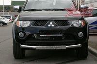 Защита переднего бампера d76 (c накладкой) на Mitsubishi L200 (2006 -) СОЮЗ-96 MITL.48.0441