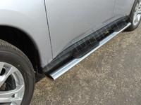Пороги овальные с накладкой 120х60 мм на Mitsubishi Outlander (2012 -) ТСС MITOUT12-05