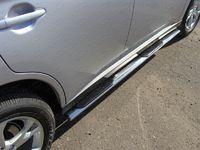Пороги овальные с накладкой 75х42 мм на Mitsubishi Outlander (2014 -) ТСС MITOUT14-07