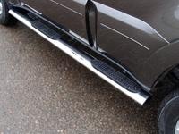 Пороги овальные с накладкой 120х60 мм для Mitsubishi Pajero 4 (2013 -) ТСС MITPAJ413-04