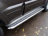 Пороги с площадкой 60,3 мм для Mitsubishi Pajero 4 (2013 -) ТСС MITPAJ413-05