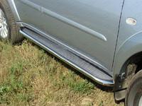 Пороги с площадкой (нерж. лист) 60,3 мм для Mitsubishi Pajero Sport (2008 -) ТСС MITPASPOR10-05