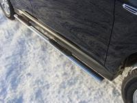 Пороги овальные с накладкой 75х42 мм на Mitsubishi ASX (2013 -) ТСС MITSASX13-06
