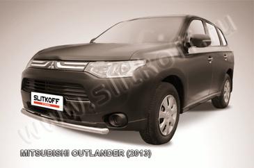 Защита переднего бампера d57 короткая для Mitsubishi Outlander (2012 -) Слиткофф MOUT13-004
