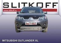 Защита переднего бампера d57+d42 двойная для Mitsubishi Outlander XL (2006 -) Слиткофф MXL006