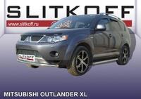 Защита переднего бампера d57 для Mitsubishi Outlander XL (2006 -) Слиткофф MXL007