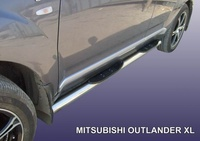 Пороги d76 с проступями для Mitsubishi Outlander XL (2006 -) Слиткофф MXL008