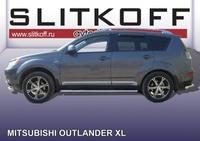 Пороги d76 труба для Mitsubishi Outlander XL (2006 -) Слиткофф MXL009