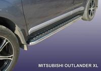 """Пороги d42 с листом (чёрный """"квинтет"""") для Mitsubishi Outlander XL (2006 -) Слиткофф MXL013"""