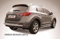 Защита заднего бампера d57+d42 двойная для Nissan Murano (2011 -) Слиткофф NIM11008