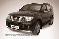Защита переднего бампера d76+d57 двойная для Nissan Pathfinder (2005 -) Слиткофф NIP006