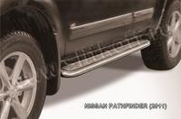 Пороги d57 с листом для Nissan Pathfinder (2010 -) Слиткофф NIP11-005