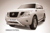 Кенгурятник d76 низкий широкий с ЗК и перемычкой для Nissan Patrol (2010 -) Слиткофф NIPAT006