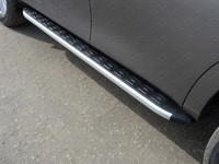 Пороги алюминиевые с пластиковой накладкой для Nissan Patrol (2014 -) ТСС NISPATR14-11