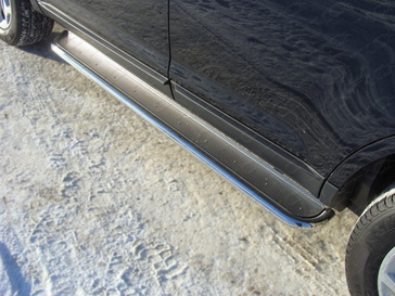 Пороги с площадкой (нерж. лист) 42,4 мм для Nissan Qashqai +2 (2010 -) ТСС NISQASH210-08
