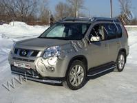 Защита передняя нижняя 60,3/42,4мм на Nissan X-Trail (2011 -) ТСС NISXTR11-01