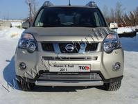 Защита передняя нижняя (овальная) 75х42 мм на Nissan X-Trail (2011 -) ТСС NISXTR11-02