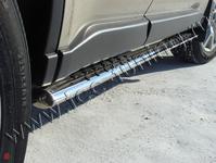 Пороги овальные с проступью 75х42 мм на Nissan X-Trail (2011 -) ТСС NISXTR11-04