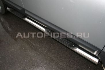 """Пороги """"труба"""" d76 с проступями на Nissan Qashqai +2 (2010 -) СОЮЗ-96 NQSH.81.0940"""