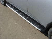 Пороги алюминиевые с пластиковой накладкой на Mitsubishi Outlander (2014 -) ТСС PATCC00026