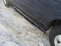 Пороги овальные с накладкой 75х42 мм для Ssang Yong Kyron (2007 -) ТСС SSANKYR2-05