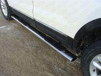 Пороги овальные с накладкой 75х42 мм на Subaru Outback (2010 -) ТСС SUBOUT10-07