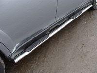 Пороги овальные с накладкой 75х42 мм для Subaru Outback (2014 -) ТСС SUBOUT14-04