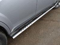 Пороги овальные с проступью 75х42 мм для Subaru Outback (2014 -) ТСС SUBOUT14-05