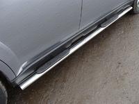 Пороги овальные с накладкой 75х42 мм для Subaru Tribeca (2007 -) ТСС SUBTRIB-08
